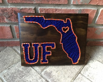 MADE TO ORDER - Florida with Heart - University of Florida Theme String Art Wooden Board