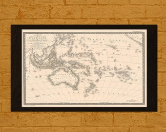 Printed on textured bamboo Art paper - Old Australia Map 1820 Ancient Map Australia  Art Antique Map Poster  Old Map Pacific Ocean Map