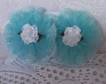 Child's Light blue lace/organza flower hair clips