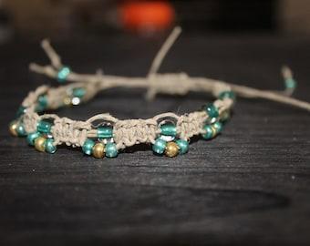 Glass Bead Hemp Anklet/Bracelet