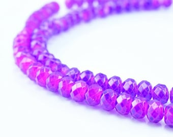 Glass Donut Rondelle Faceted Beads for Jewelry, Decoration, Chandelier 3x4mm  60 PCs each Item#789222042844