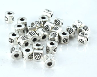 3x4mm Circle Textured Tube Antique Silver Metal Beads, Sold by 1 pack of 100pcs, 1mm hole opening,