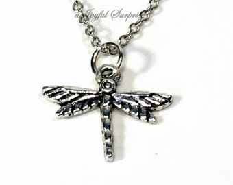 SALE - Silver Dragon Fly Necklace, Dragonfly Gifts, Little Girls Necklace, Dragonfly Charm Necklace, Dragonfly Pendant, Insect Jewelry 79