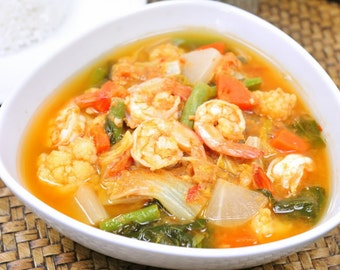 Instant Food Cooking Thai Food Vegetables in Sour Kaang Som Curry Easy Cooking 50 grams Powder Recipe