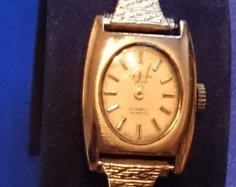 Vintage   Gold Plated Delvina Geneve 17 Jewels Incabloc Ladies Wind Up Watch