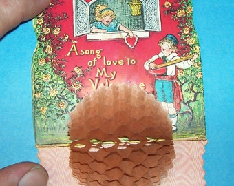 "1920's VALENTINE ""A song of love to My Valentine"" flip open, tissue honeycomb pop out, 3 dimentional Valentine"