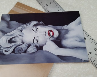 Marilyn Monroe Red Lips Acrylic Painting - Print