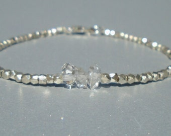 Herkimer Bracelet, Karen Hill Silver Bracelet, Silver Bracelet, Dainty Beaded Bracelet, Skinny Beaded Bracelet, Anklet, Skinny Beaded Anklet