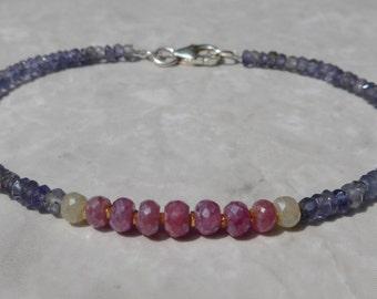 Sapphire Bracelet, Pink Sapphire Bracelet, Ruby Bracelet, Iolite Bracelet, Dainty Bracelet, Gemstone Bracelet, Blue Bracelet