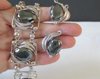 HEMATITE Bracelet And Earring Set * Sterling * Alice Caviness And Sorrento * Demi Parure * Gift For Lady