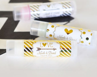 Personalized Metallic Foil Lip Balm Tubes - Wedding, Gold or Silver Foil Metallic Favors - 24 pieces