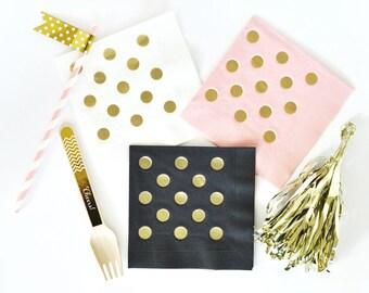 Metallic Gold DOTS Napkins (set of 25)