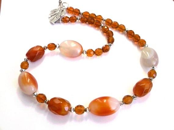 orange necklace gemstone necklace carnelian necklace cat eye