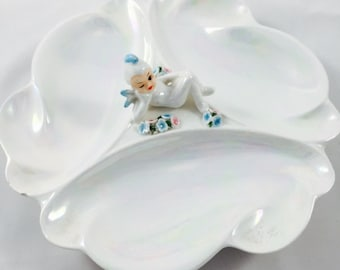 Vintage 1950's Lefton iridescent winter pixie divided serving dish with flowers.