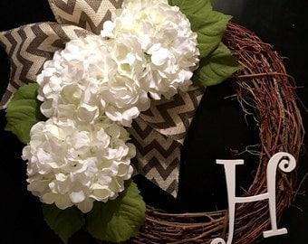 Hydrangea Wreath, Anytime Wreath, Initial Wreath