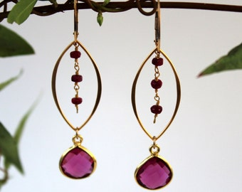 Handmade earrings - faceted fuchsia quartz dangles from open marquise shape with faceted ruby beaded chain on 14K gold filled leverbacks