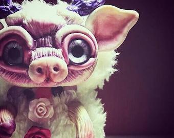 Pink reindeer handmade art doll available