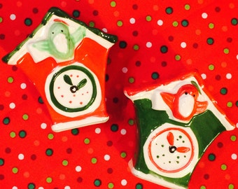 Red and Green Christmas Coo Coo Clock Salt and Pepper Shakers by Kreiss of Japan circa 1950's