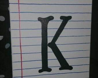 Monogram Notebook Paper Canvas (11×14)