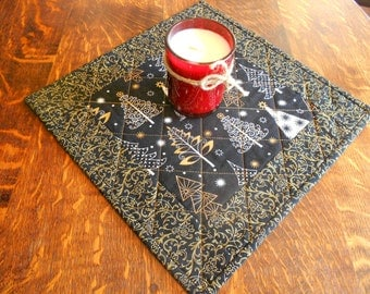 Quilted Candle Mat/ Small Table Topper in Black and Gold Christmas Fabric