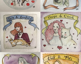 Custom Portrait of You with Your Pet (Portrait Commission)