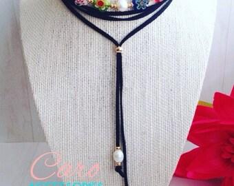 Choker negro. Collar ajustable. Collar choker de perla y millefiori.
