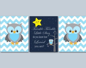 Owl  Nursery Wall Art,Owl Wall Art,Twinkle Twinkle Nursery Wall Art,Owl Kids Room Wall Art,Owl Nursery Decor,Owl Baby Gift-UNFRAMED 3 -C236
