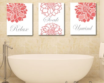 Coral Bathroom Decor,Coral Gray Bathroom Wall Art,Coral Gray Floral Wall Art,Orange Bathroom Decor,Modern Bathroom Decor-UNFRAMED set of 3