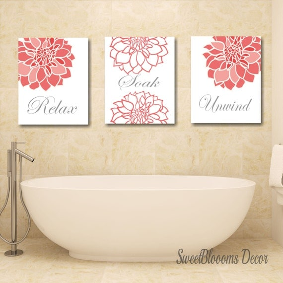 Coral Bathroom DecorCoral Gray Bathroom Wall ArtCoral Gray