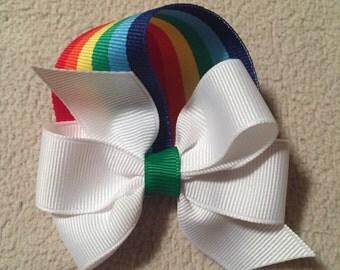 St. Patrick's Day Rainbow Cloud Bow