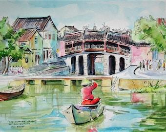 Original Watercolor Painting, The Japanese Bridge, Hoi An, Vietnam