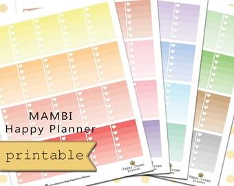 Printable Ombre Heart Checklist/Happy Planner Checklist/Pastel Planner Sticker Kit/Functional Stickers/To Do Checklist