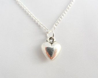 Silver Heart Necklace -  Heart Necklace - Valentine Heart Necklace - Valentine Gift