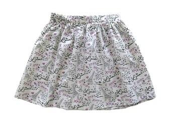 Paris Skirt, Eiffel Tower Skirt, Girls Clothing, Toddler Girls Skirt,  White Skirt