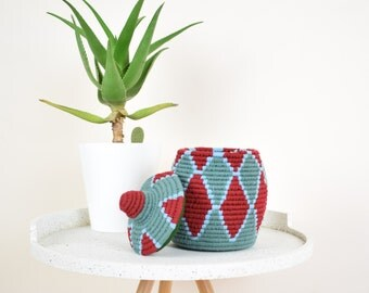 BERBER BASKET - Blue Moroccan Bread Basket with Handwoven Red Tribal Diamond Pattern - Sahara Basket