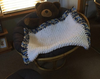 Oversized Super Soft Crocheted Blue and White Baby Blanket E10011