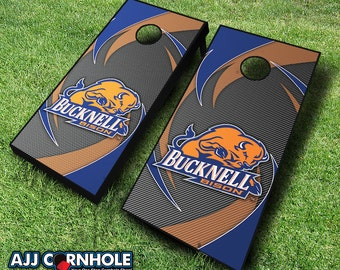 Officially Licensed Bucknell University Bison Swoosh Cornhole Set with Bags - Bean Bag Toss - Bucknell Cornhole - Corn Toss - Corn hole