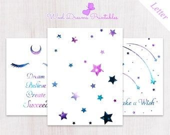 Letter Dashboards and Dividers Dream and Star,  binder dividers, tab dividers, planner tabs, printable dividers