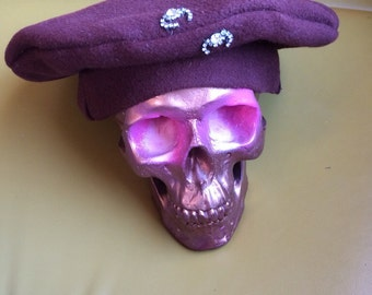 Vintage Brown Beret with costume jewelry