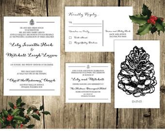 Printable Classic Formal Black and White Wedding Invitation Set