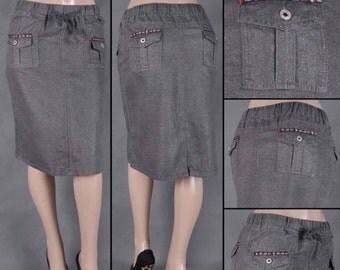 Grey soft denim skirt