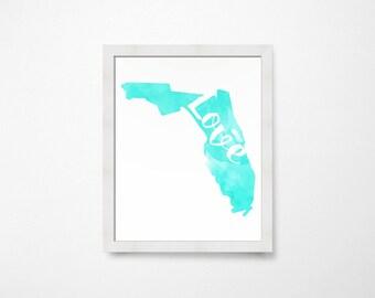 Florida Love Watercolor State Silhouette- Florida Art- Instant Download - Florida Printable- Florida State Map Art