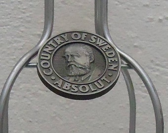 RARE Absolute Vodka Trademark Emblem Display Stand Stainless Steel Vintage Prop Entertaining Bar Decoration Serving Hors d'oeuvres