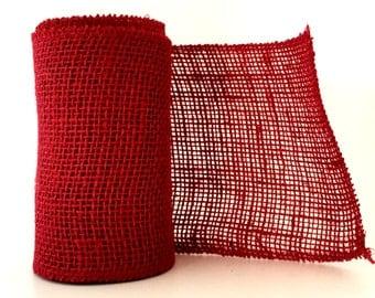 Wide Burlap Ribbon / Red Burlap / 6 inch x 5 yard Roll / Red Burlap Wrap / Wide Burlap Ribbon / Red Burlap Ribbon / Fiber Ribbon / PER ROLL