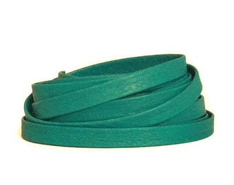 Turquoise Leather Strip / Turquoise Leather Lace / 10mm Dark Turquoise Leather Strap /  Leather Strips / Leather Straps / Bracelet Leather