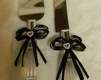 Wedding  Reception Party Cake Knife & Server Black Bow and Ribbons 2 Piece Set