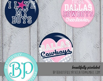 Dallas Cowboys - Bottle Cap Images - Digital Collage Sheet - 1 Inch Circles for Bottlecaps, Hair Bows, Pendants - Instant Download