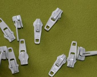 pack of 10 no 3 cream   open end zip sliders