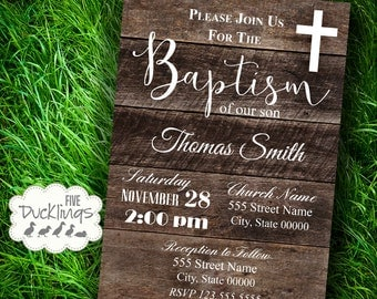Baptism Invitation, Rustic wood invitation, Baptism celebration, Printable Digital Invitation, A397