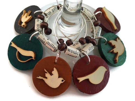 bird wine charms with paper bird wine by athomewithwords